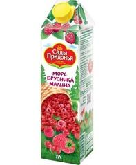 """Морс """"Сады Придонья"""" бруснично-малиновый неосветленный 1л"""