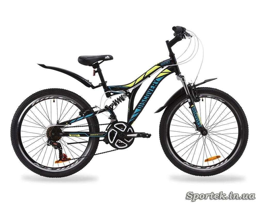 Горный универсальный подростковый велосипед Discovery Rocket - черно-желтый с бирюзовым