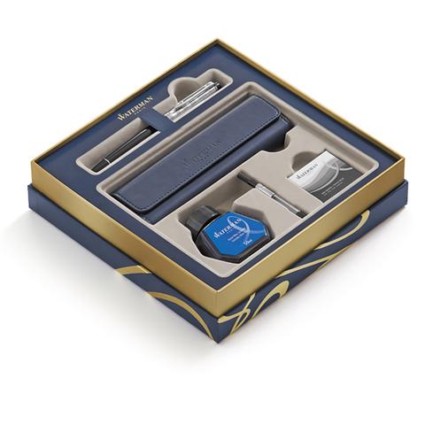 Набор подарочный Waterman Expert - Deluxe Black CT, перьевая ручка, F + чехол