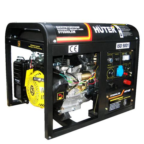 Электрогенератор HUTER DY6500LW, с функцией сварки, с колесами