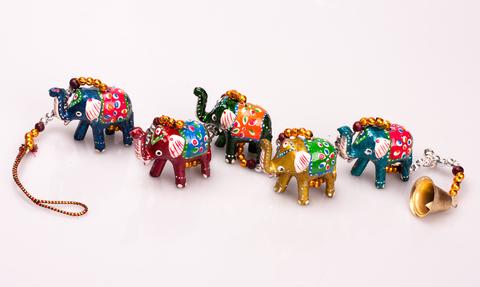 Домашний оберег 5 слонов с колокольчиком