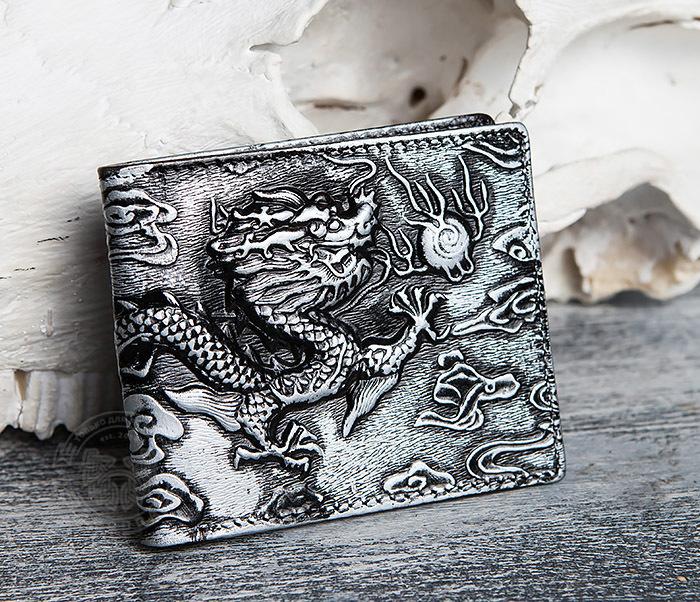 WL293-1 Необычный мужской кошелек из натуральной кожи с драконом