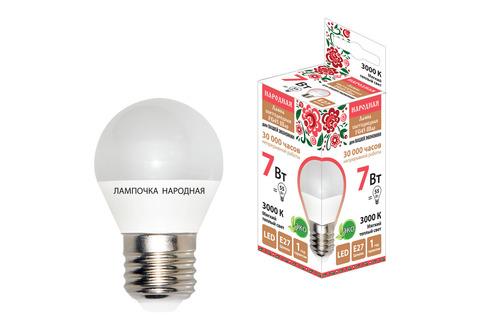Лампа светодиодная FG45-7 Вт-230 В-3000 К–E27 Народная