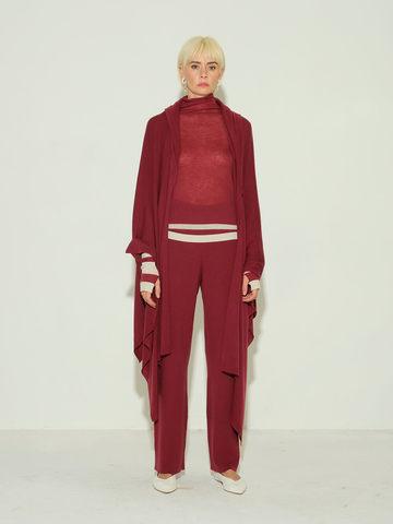 Женский шарф бордового цвета из 100% шерсти - фото 3