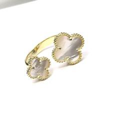47928- Кольцо Тrendy разъемное из серебра в лимонной позолоте -2 мотива, вставка перламутр