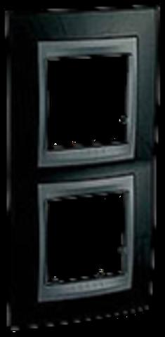 Рамка на 2 поста, вертикальная. Цвет Родий-графит. Schneider electric Unica Top. MGU66.004V.293