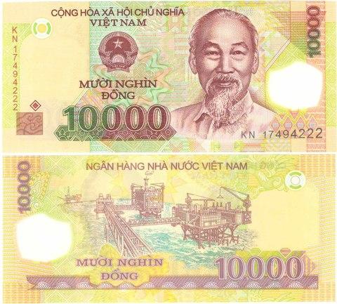 Банкнота 10000 донг 2008 год, Вьетнам. KN17494222 UNC