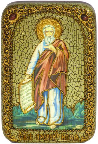 Инкрустированная икона Пророк Илия Фесвитянин 15х10см на натуральном дереве, в подарочной коробке