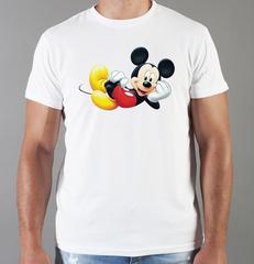 Футболка с принтом Микки Маус (Mickey Mouse) белая 004