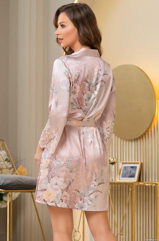 Женский шелковый халат на пуговицах  Mia-Amore  MILINDA МИЛИНДА 3727