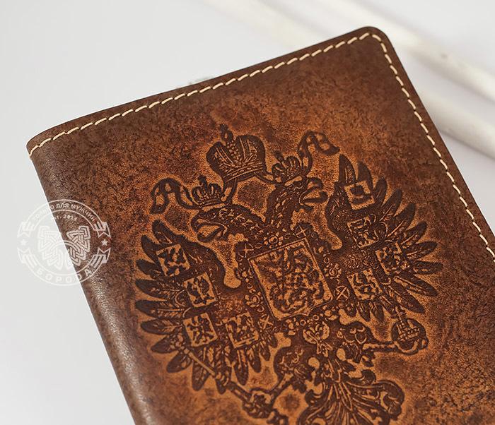 BY14-25-02 Обложка на паспорт «Российская Империя» из натуральной кожи фото 02