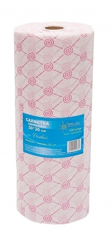 Салфетка одноразовая 30*40 плотность-спанлейс 50 розовый