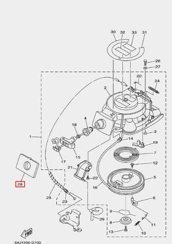Уплотнитель стартера для лодочного мотора F20 Sea-PRO (10-28)