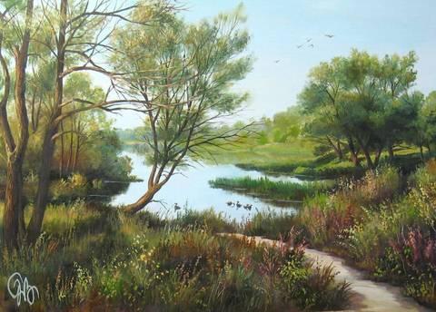 Картина раскраска по номерам 50x65 Пруд в лесу