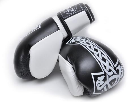 Перчатки боксёрские HAMMER. Размер 10 унций. Состав -  кожзаменитель, цв. ЧЕРН (Спр) (35717-1)