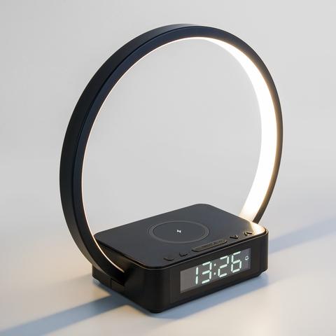 Светодиодная настольная лампа с беспроводной зарядкой и будильником 80505/1 черный