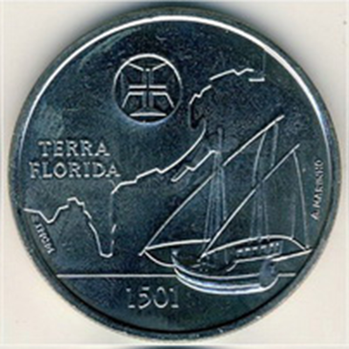 """200 эскудо """"Открытие Флориды. Парусник"""" 2000 год"""