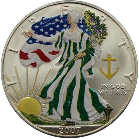 """1 доллар 2007 год США """"Шагающая свобода"""". Серебряная инвестиционная монета (зеленая)"""