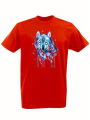 Футболка с принтом Волк (Wolf) красная 002