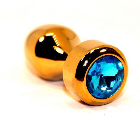 Золотистая анальная пробка с голубым кристаллом - 7,8 см.