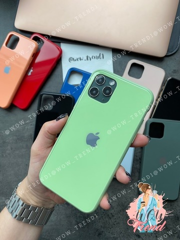Чехол iPhone 11 Pro Max Glass Pastel color Logo /mint/