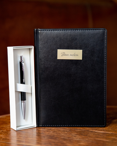 Набор с гравировкой: Ежедневник и Шариковая ручка Parker Urban Premium Ebony Black