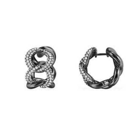 20029 - Серьги из серебра с цирконами в форме цепи в черном родаже