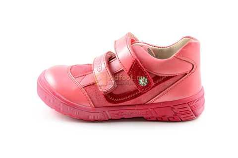 Ботинки Тотто из натуральной кожи на липучках демисезонные для девочек, цвет розовый. Изображение 3 из 12.