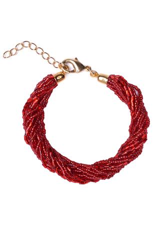 Бисерный браслет 12 нитей красный