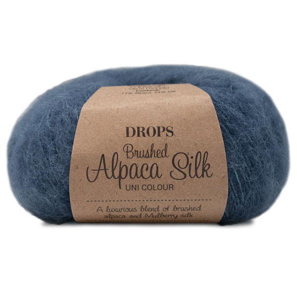 Пряжа Drops Brushed Alpaca Silk 25 синяя сталь