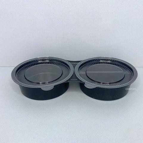 Соусница круглая тройная (соев.соус+имбирь+васаби) черная + крышка прозрачная (5025)