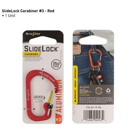 Карабин с блокировкой Nite Ize SlideLock Carabiner Aluminum, размер 3 красный