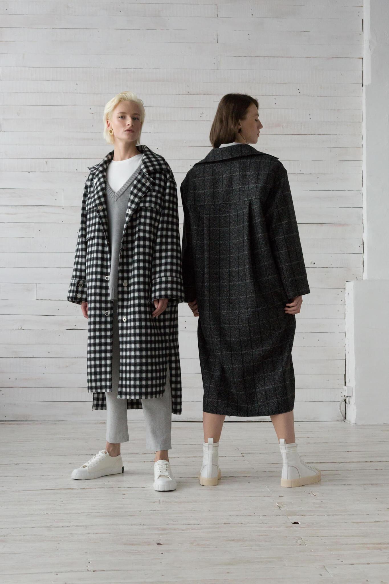 Пальто-рубашка на кнопках, черно-белая клетка