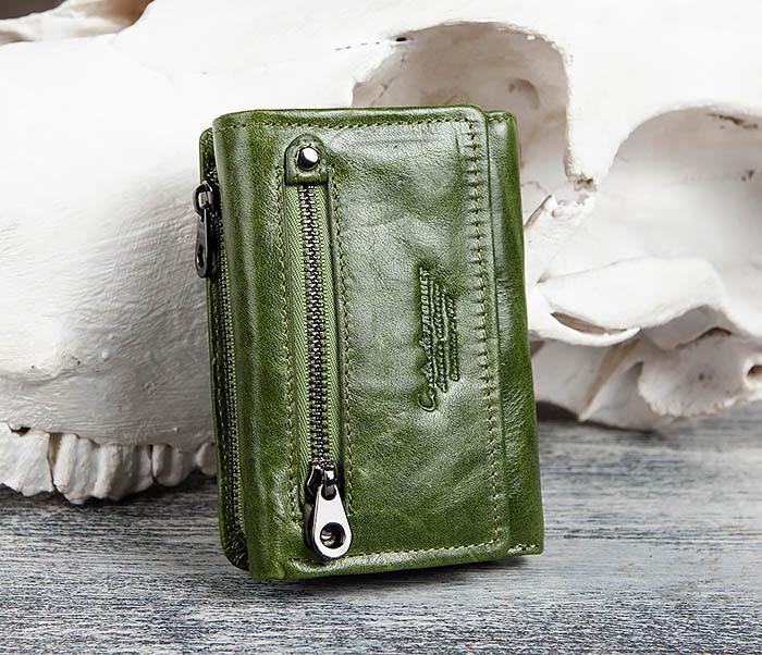 WL299-4 Зеленый кожаный кошелек с монетницей
