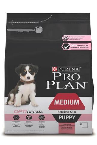 Сухой корм Purina Pro Plan для щенков средних пород с чувствительной кожей, лосось с рисом