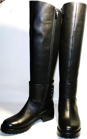 Женские зимние сапоги кожаные на низком каблуке европейки, черные Richesse 36 размер
