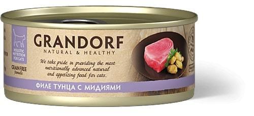 Купить консервы для кошек Грандорф с тунцом и мидиями