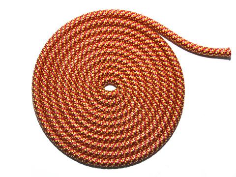 Скакалка для художественной гимнастики с люрексом. Материал: полиамид. Длина 3 м.  Количество прядей - 40. Цвет: красный, жёлтый, серебро. TS-KЖC