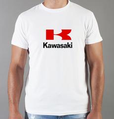 Футболка с принтом Кавасаки (Kawasaki) белая 0014