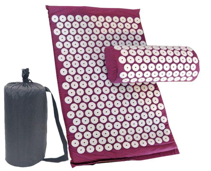Массажный коврик (аппликатор Кузнецова) + подушка (фиолетовый)