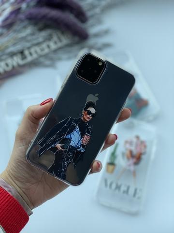 Чехол силиконовый прозрачный Iphone 11 pro /lady boss/