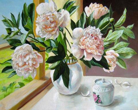 Картина раскраска по номерам 50x65 Букет белых цветов с зеленью в белой вазе