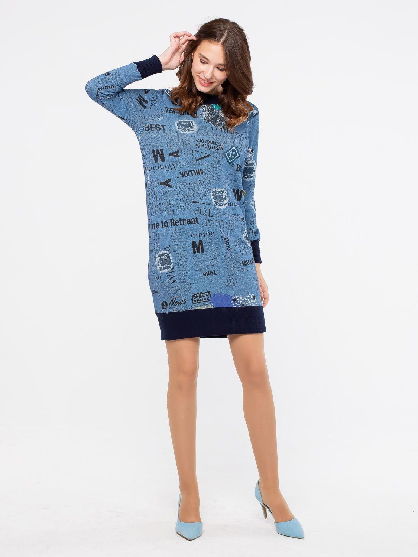 Платье З232-649 - Повседневное платье-свитшот из хлопка с добавлением полиэстера. Молодежная модель подойдет для осени, зимы и весны. Модный принт выглядит оригинально и стильно. Платье отделано толстой резинкой по подолу и манжетам. Практичная модель на каждый день для тех, кто ценит удобство и комфорт.