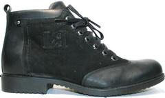 Качественные зимние ботинки мужские кожаные Luciano Bellini 6057-58K Black Leathers & Nubuk.