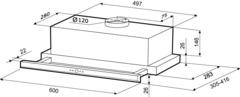 Вытяжка Kronasteel Kamilla Slim 2M 600 inox - схема