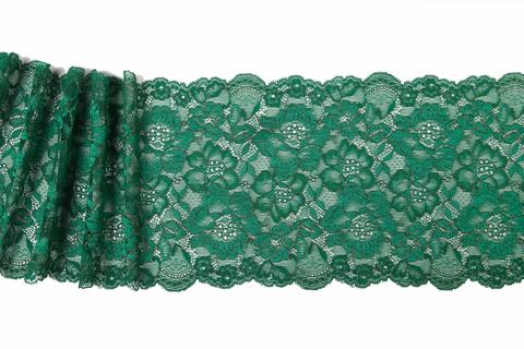 Кружево эластичное зеленый/золото 18 см