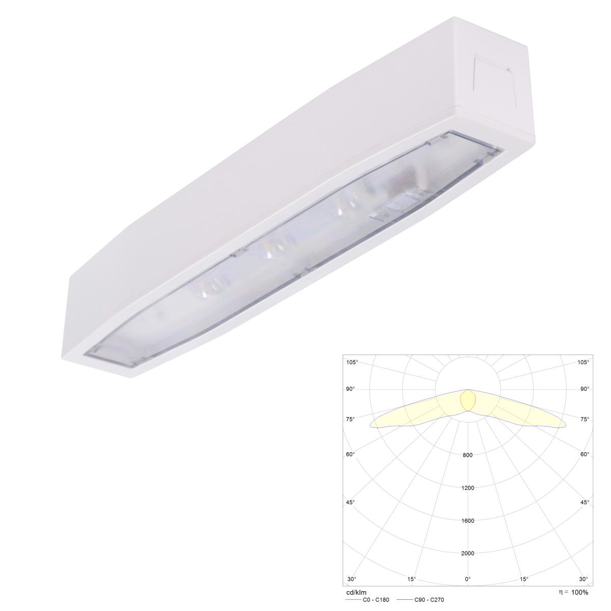 Потолочный светильник аварийного освещения IP54 для эвакуационных путей Suprema LED SС NT Intelight – внешний вид