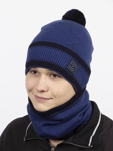 Комплект шапка и снуд, синий цвет