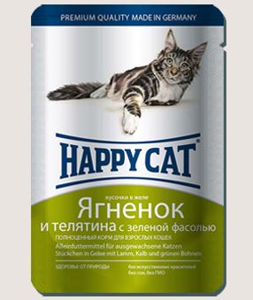 Влажные корма Пауч для кошек Happy Cat ягненок, теленок и зеленая фасоль в желе 9k_-9.jpg