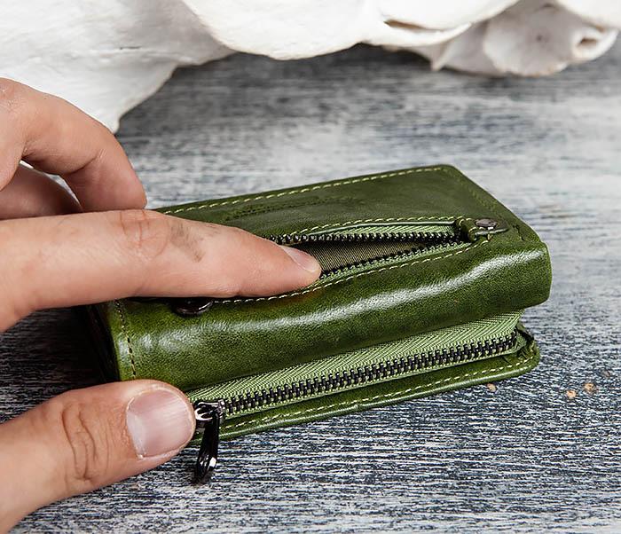 WL299-4 Зеленый кожаный кошелек с монетницей фото 05